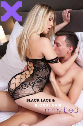 Alecia in Black Lace & Blonde Hair In My Bed